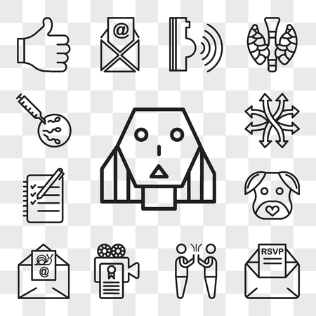 Set Of 13 transparent editable icons such as female robot, rsvp, hi five, screenplay, snail mail, minimalist dog, logbook, versatile, ivf, web ui icon pack, transparency set