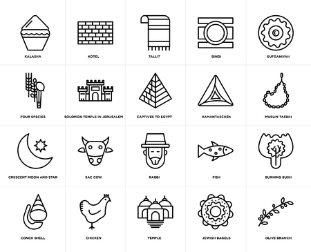 Set Of 20 simple editable icons such as Olive Branch, Muslim Tasbih, Sufganiyah, Bindi, Conch shell, Kotel, Fish, Four Species, web UI icon pack, pixel perfect Vector Illustration