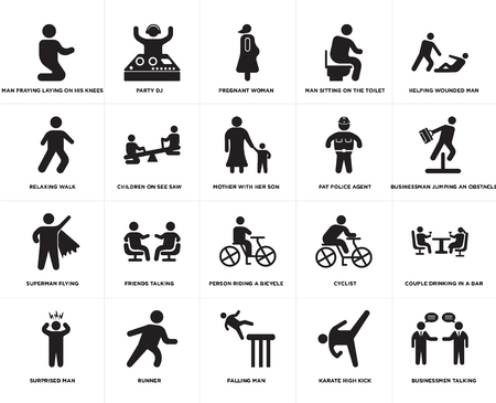 Set Of 20 simple editable icons such as Party Dj, Karate High Kick, Helping wounded man, Runner, Surprised Man, Couple drinking in a bar, Children on see saw, web UI icon pack, pixel perfect Ilustração Vetorial