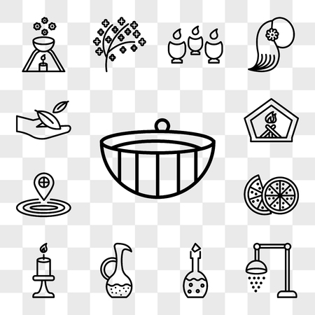 Set Of 13 transparent icons such as Spa wooden bowl, shower, Aromatherapy lotion bottle, water, Candle burning flame, Couple of half oranges, drop blood, web ui editable icon pack, transparency set Illustration