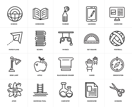 Set Of 20 icons such as Scissors, Newspaper, Chemistry, Swimming pool, Atom, Computer, square, Blackboard eraser, Desk lamp, Scarfs, Marker, web UI editable icon pack, pixel perfect