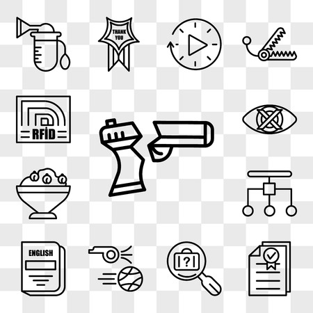 Set Of 13 transparent editable icons such as broken gun, underwriting, lost and found, kickoff, english subject, restructuring, hummus, discreet, rfid, web ui icon pack, transparency set