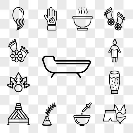Conjunto de 13 iconos transparentes como cama de spa, bikini femenino y short masculino para spa, baño de relajación, planta de helecho en jarrón, vaso con jugo, paquete de iconos editables de interfaz de usuario web, transparencia Ilustración de vector