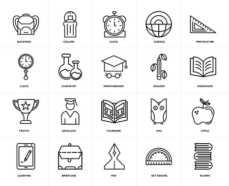 Set Of 20 icons such as Scarfs, square, Pen, Briefcase, Learning, Protractor, Biology, Yearbook, Trophy, Chemistry, Clock, web UI editable icon pack, pixel perfect Illusztráció