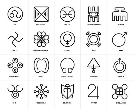 Conjunto de 20 iconos como excelencia, Júpiter, devoción, escudo de dioses, zinc, belleza, cera, coagulación, compromiso, protección, Piscis, paquete de iconos editables de la interfaz de usuario web, píxel perfecto