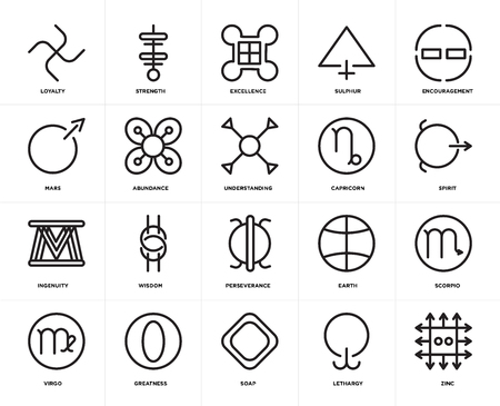 Set Of 20 icons such as Zinc, Lethargy, Soap, Greatness, Virgo, Encouragement, Capricorn, Perseverance, Ingenuity, Abundance, Excellence, web UI editable icon pack, pixel perfect