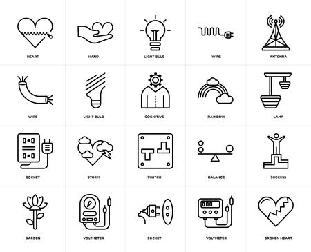 Conjunto de 20 iconos como corazón roto, voltímetro, zócalo, jardín, antena, arco iris, interruptor, bombilla, paquete de iconos editables de interfaz de usuario web, píxel perfecto