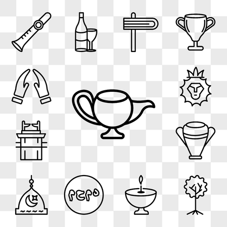 Set Of 13 transparent icons such as Genie Lamp, Tree of Life, Religion, Muhammad Word, Medina, Manna Jar, Ark the Convenant, Lion Judah, web ui editable icon pack, transparency set Illustration