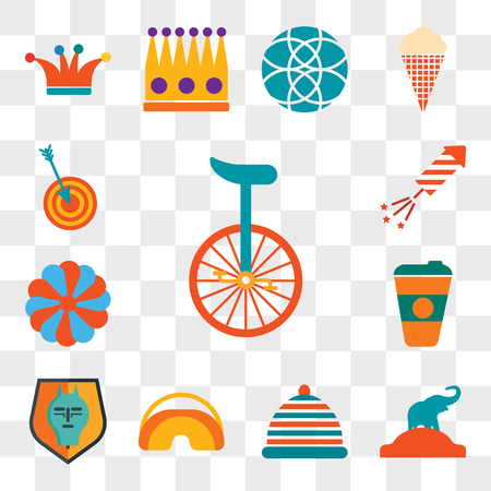 Set Of 13 transparent editable icons such as Unicycle, Elephant, Hat, Eye mask, Quema del mal humor, Coffee cup, King cake, Fireworks, Dart board, web ui icon pack, transparency set