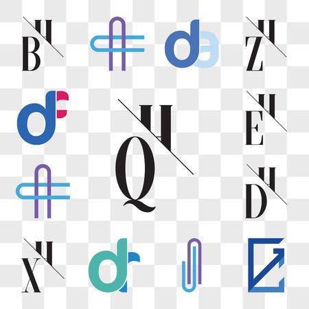 Set Of 13 transparent editable icons such as QH, HQ, GC, CG, AJ or JA Letter, dr, rd, XH, HX, DH, HD, AC CA EH, HE, df, fd, web ui icon pack, transparency set Illusztráció