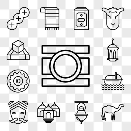 Set Of 13 transparent editable icons such as Bindi, Dromedary, Jewish Incense, Temple, Hindu, Moses, Sufganiyah, Islamic Lantern, Tefilin, web ui icon pack, transparency set Illustration