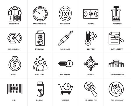 Set Of 20 icons such as fire retardant, no hidden fees, pre order, dongle, imei, aeropress, dew point, quick facts, capex, camel milk, fingerprint, web UI editable icon pack, pixel perfect 일러스트