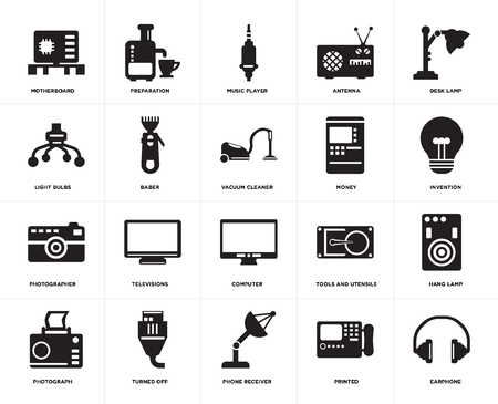 Set Of 20 icons such as Earphone, Printed, Phone receiver, Turned off, Photograph, Desk lamp, Money, Computer, Photographer, Baber, Music player, web UI editable icon pack, pixel perfect