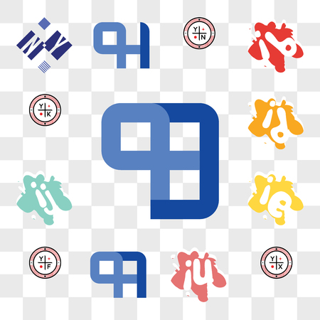 Set Of 13 transparent editable icons such as QB or BQ, YX, iu ui, QA AQ, YF, ie ei, ij ji, id di, YK, web ui icon pack, transparency set Illustration