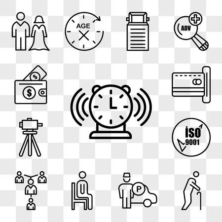 Set Of 13 transparent editable icons such as buzzer, senior citizen, valet, sitting down, mentorship, iso 9001, surveyor, emption, affordability, web ui icon pack, transparency set Vecteurs