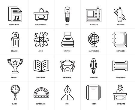 Set Of 20 icons such as Graduate, Book, Pen, square, Clock, Crayons, Earth globe, Backpack, Trophy, Atom, web UI editable icon pack, pixel perfect