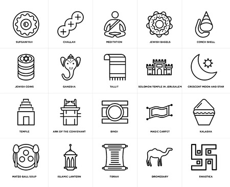 Set Of 20 simple editable icons such as Swastica, Crescent Moon and Star, Conch shell, Jewish Bagels, Matzo Ball Soup, Challah, Magic Carpet, Coins, web UI icon pack, pixel perfect