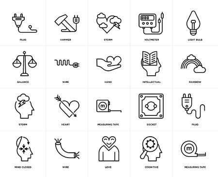 Set Of 20 icons such as Measuring tape, Cognitive, Love, Wire, Mind closed, Light bulb, Intellectual, Storm, web UI editable icon pack, pixel perfect
