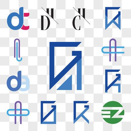 Set Of 13 transparent editable icons such as GA, AG, EZ ZE, GX, XG, GO, OG, AO or OA Letter, GK, KG, da, ad, AC CA AL LA web ui icon pack, transparency set