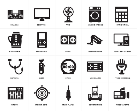 Set Of 20 simple editable icons such as Video cameras, Tools and utensils, Mathematical, Washing machine, Antenna, Computer, games, Kitchen pack, web UI icon pixel perfect Ilustração