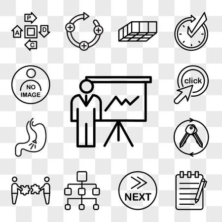 Set di 13 icone trasparenti come expo, scrittura di saggi, cosa c'è dopo, organigramma, fusioni e acquisizioni, chiavi in mano, endoscopia, cliccami, pacchetto di icone modificabili dell'interfaccia utente web, set di trasparenza