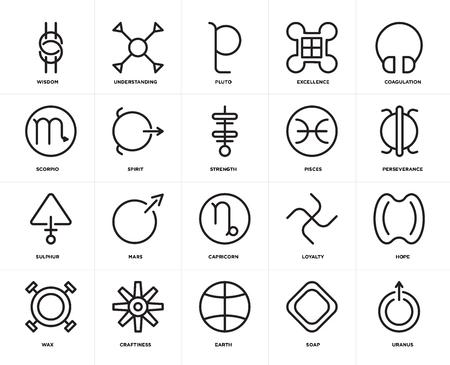 Set Of 20 icons such as Uranus, Soap, Earth, Craftiness, Wax, Coagulation, Pisces, Capricorn, Sulphur, Spirit, Pluto, web UI editable icon pack, pixel perfect