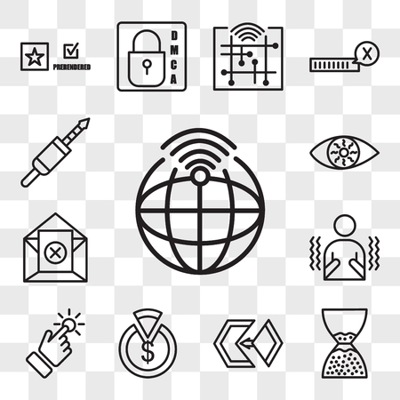 Set Of 13 transparent editable icons such as telemetry, scarcity, matchmaking, capex, touchpoint, shivering, unsubscribe, bloodshot eye, 3.5 mm jack, web ui icon pack, transparency set
