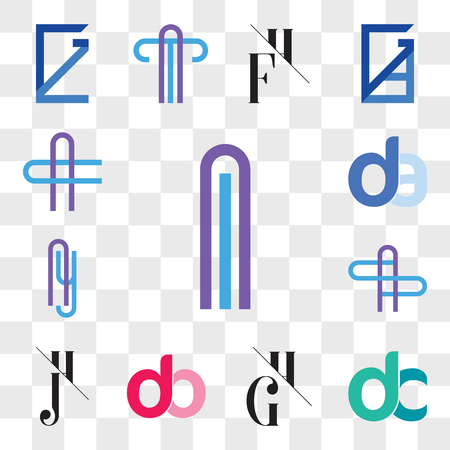 Set Of 13 transparent editable icons such as Al or lA Letter, dc, cd, GH, HG, db, bd, JH, HJ, AS SA Ay yA da, ad, AC CA web ui icon pack, transparency set