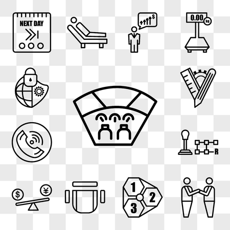 Set Of 13 transparent editable icons such as cockpit, brotherhood, 123, chair top view, price comparison, gear shift, tel, tailor made, cybersecurity, web ui icon pack, transparency set