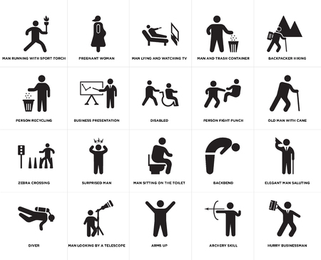 Set Of 20 simple editable icons such as Old man with cane, Arms up, Man looking by a telescope, Person recycling, Disabled, web UI icon pack, pixel perfect