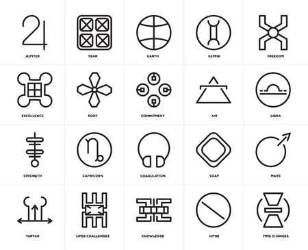 Set Of 20 icons such as Time changes, Nitre, Knowledge, Lifes challenges, Tartar, Freedom, Air, Coagulation, Strength, Soot, Earth, web UI editable icon pack, pixel perfect