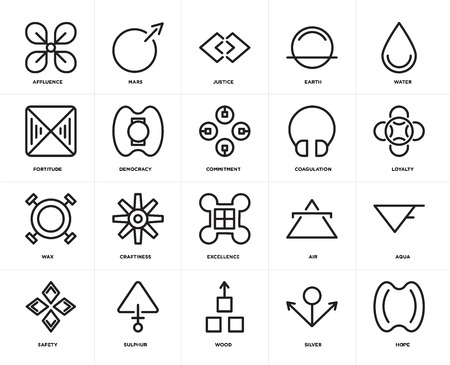Set Of 20 icons such as Hope, Silver, Wood, Sulphur, Safety, Water, Coagulation, Excellence, Wax, Democracy, Justice, web UI editable icon pack, pixel perfect