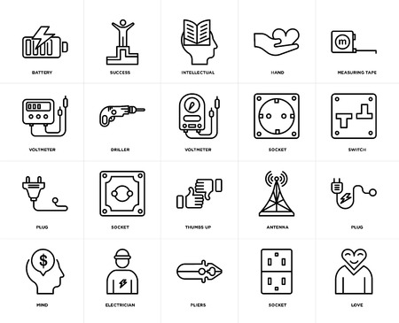Set Of 20 icons such as Love, Socket, Pliers, Electrician, Mind, Measuring tape, Thumbs up, Plug, Driller, Intellectual, web UI editable icon pack, pixel perfect