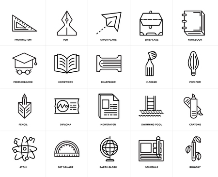 Set Of 20 icons such as Biology, Schedule, Earth globe, square, Atom, Notebook, Marker, Newspaper, Pencil, Homework, Paper plane, web UI editable icon pack, pixel perfect Illustration