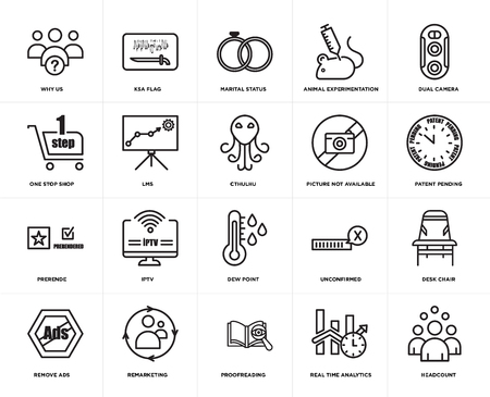 Satz von 20 einfachen bearbeitbaren Symbolen wie Mitarbeiterzahl, zum Patent angemeldet, Dual-Kamera, Tierversuche, Werbung entfernen, KSA-Flagge, unbestätigt, One-Stop-Shop, Web-UI-Icon-Pack, Pixelperfekt Vektorgrafik