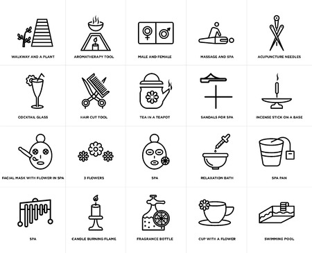 Set Of 20 simple editable icons such as Aromatherapy tool, cup with a flower, Acupuncture needles, Candle burning flame, Spa, Spa pan, Hair cut web UI icon pack, pixel perfect