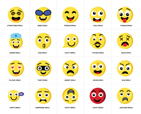 Set Of 20 simple editable icons such as Shocked emoji, Dead Tongue Ugly Happy Nerd Moon Nurse web UI icon pack, pixel perfect