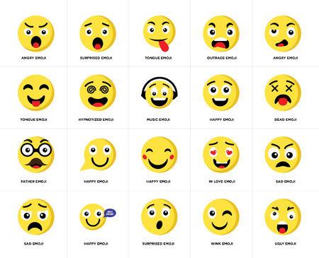 Set Of 20 simple editable icons such as Ugly emoji, Dead Angry Outrage Sad Surprised In love Tongue web UI icon pack, pixel perfect Illustration