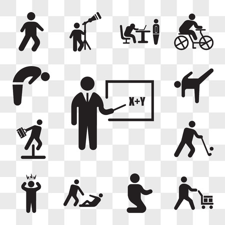 Set Of 13 transparent icons such as Teacher teaching with a stick, Worker loading boxes, Man praying laying on his knees, Helping wounded man, Surprised Man, web ui editable icon pack, transparency