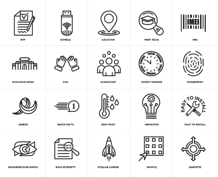 Set Of 20 simple editable icons such as agnostic, fingerprint, imei, most read, neighborhood watch, dongle, innvation, shaniwar wada, web UI icon pack, pixel perfect