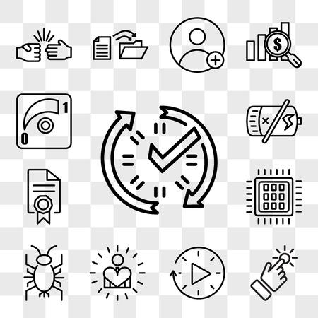 Set van 13 transparante pictogrammen zoals real-time gegevens, touchpoint, downtime, zelfrespect, cricket bug, quad-core processor, mandaat, lege batterij, web ui bewerkbare icon pack, transparantie set