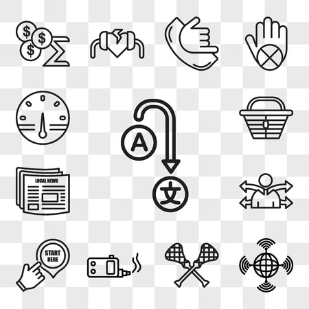 Set Of 13 transparent editable icons such as change language, wan, lacrosse, ecig, start here, versatility, local news, lunchbox, smart meter, web ui icon pack, transparency set