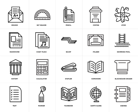 Set Of 20 icons such as Agenda, Earth globe, Yearbook, Marker, Test, Atom, Folder, Stapler, History, Sheet music, Pencil, web UI editable icon pack, pixel perfect Illustration