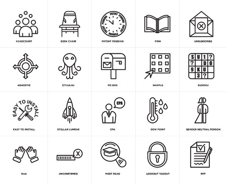 Set Of 20 icons such as rfp, lockout tagout, most read, unconfirmed, dua, unsubscribe, waffle, cpa, easy to install, cthulhu, patent pending, web UI editable icon pack, pixel perfect