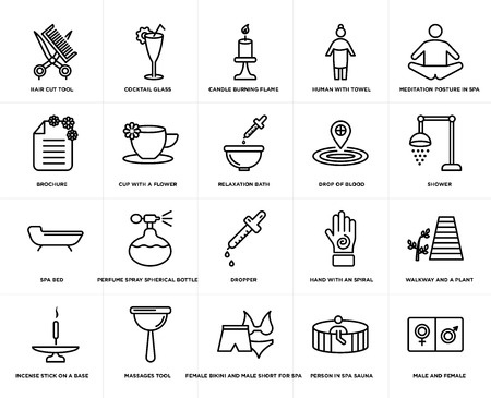 Set Of 20 simple editable icons such as shower, Female bikini and male short for spa, Massages tool, brochure, Relaxation bath, web UI icon pack, pixel perfect