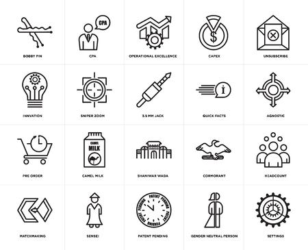 Set van 20 eenvoudige bewerkbare pictogrammen zoals instellingen, agnostisch, afmelden, capex, matchmaking, cpa, aalscholver, innvation, web UI icon pack, pixel perfect