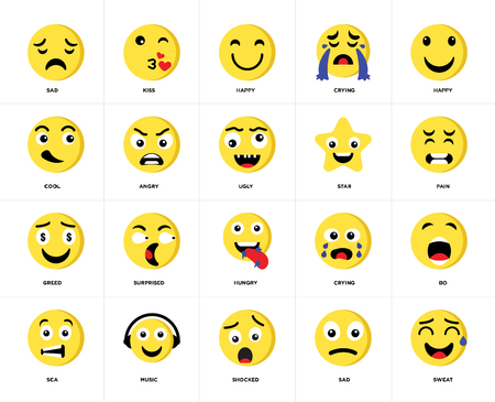 Set Of 20 icons such as Sweat, Sad, Shocked, Music, Sca, Happy, Star, Hungry, Greed, Angry, web UI editable icon pack, pixel perfect