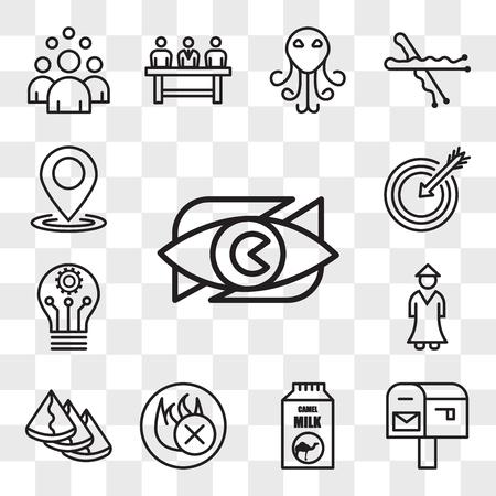Set Of 13 transparent editable icons such as neighborhood watch, po box, camel milk, fire retardant, samosa, sensei, innvation, our mission, location, web ui icon pack, transparency set 일러스트