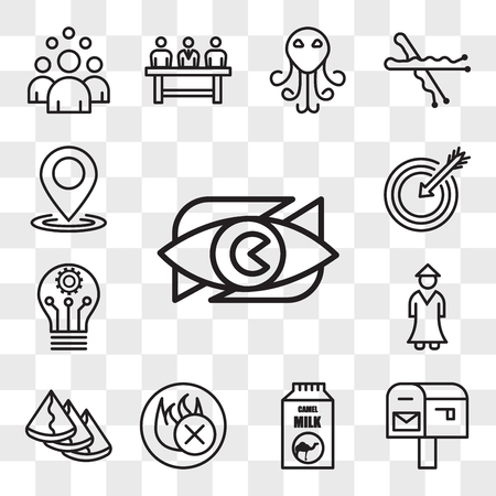 Set Of 13 transparent editable icons such as neighborhood watch, po box, camel milk, fire retardant, samosa, sensei, innvation, our mission, location, web ui icon pack, transparency set 向量圖像