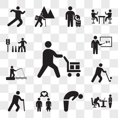 Set Of 13 transparent icons such as Worker loading boxes, Boss catching a worker sleeping, Backbend, Couple in Love, Old man with cane, Golfer, web ui editable icon pack, transparency Illustration